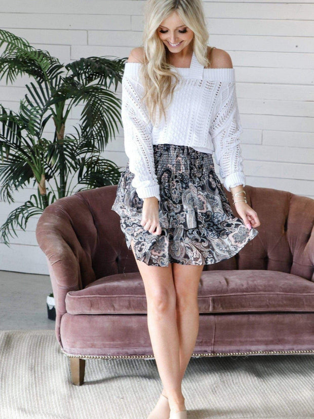 Elan Paisley Print Mini Skirt