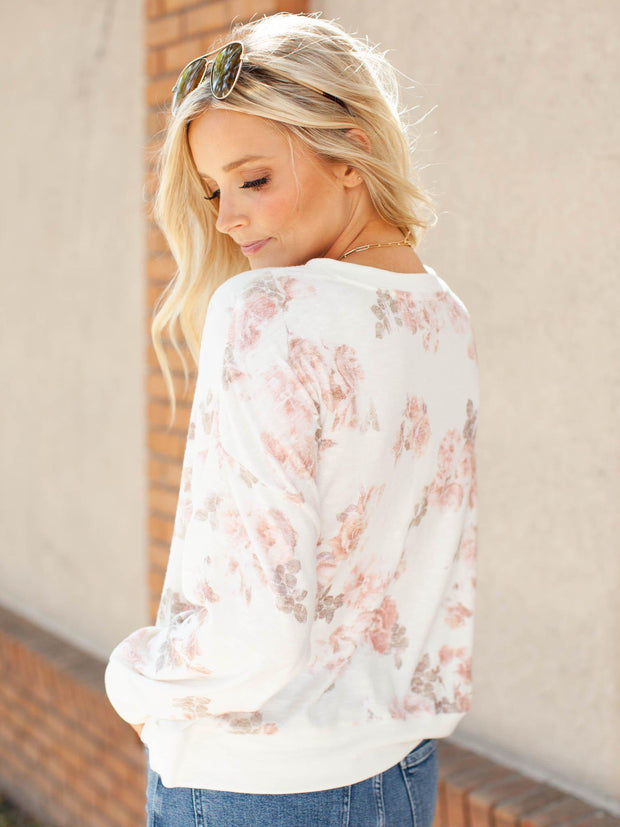 Long Sleeve Cropped Floral Top
