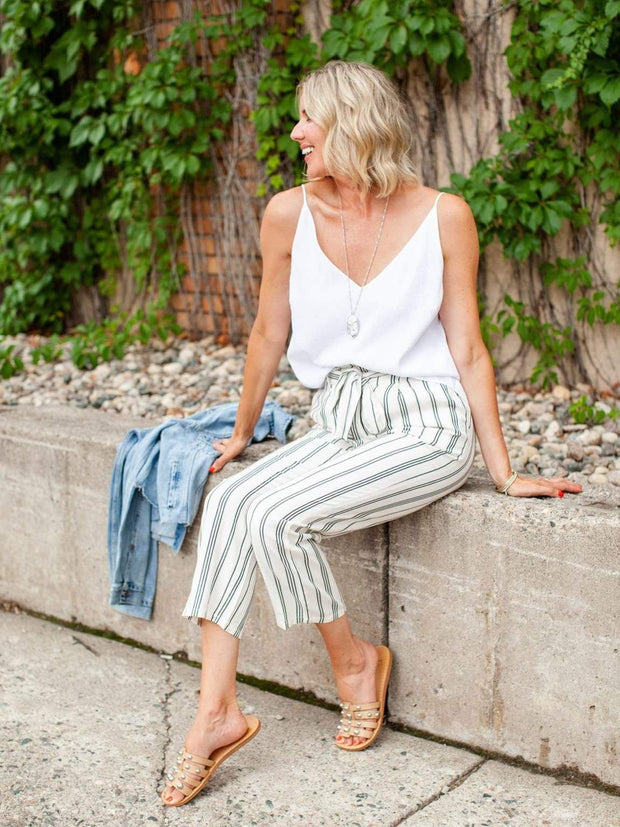High Rise Belted Stripe Pants