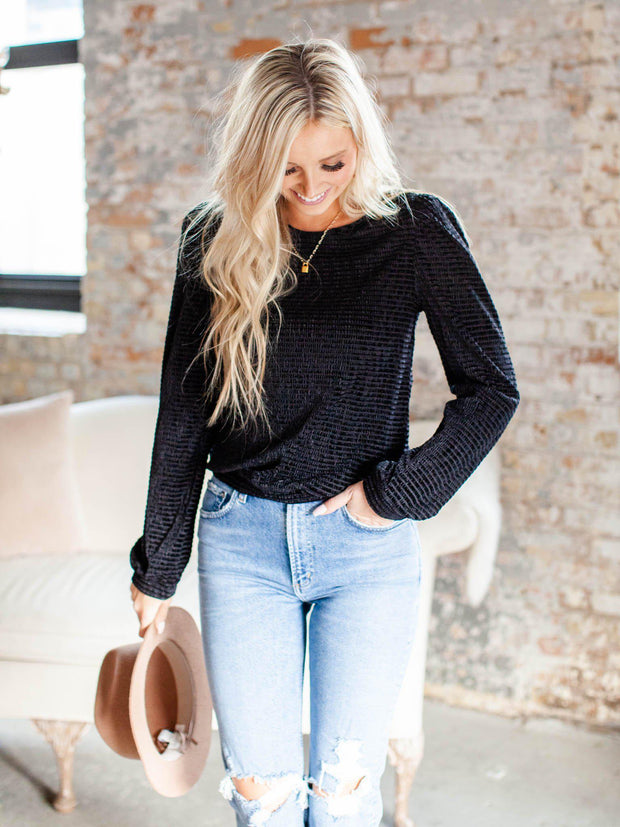 puff sleeve textured long sleeve top