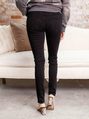mid rise black skinny denim