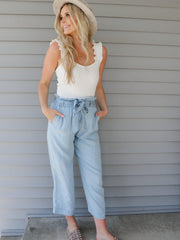 Paperbag Waist Cropped Pants