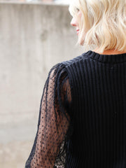 Textured Sleeve Knit Sweater