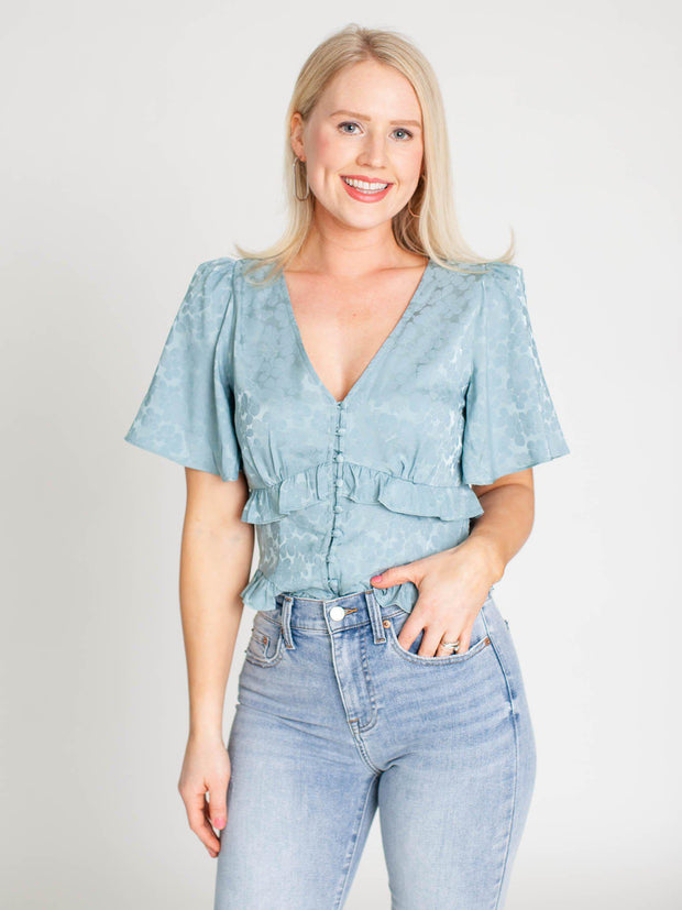 satin blue ruffle top