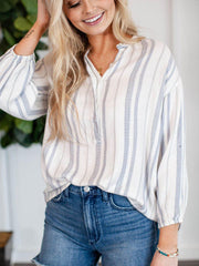V-Neck Half Button Stripe Shirt