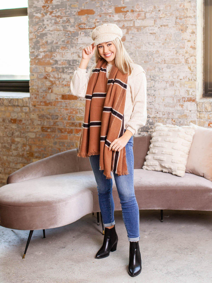 camel plaid scarf