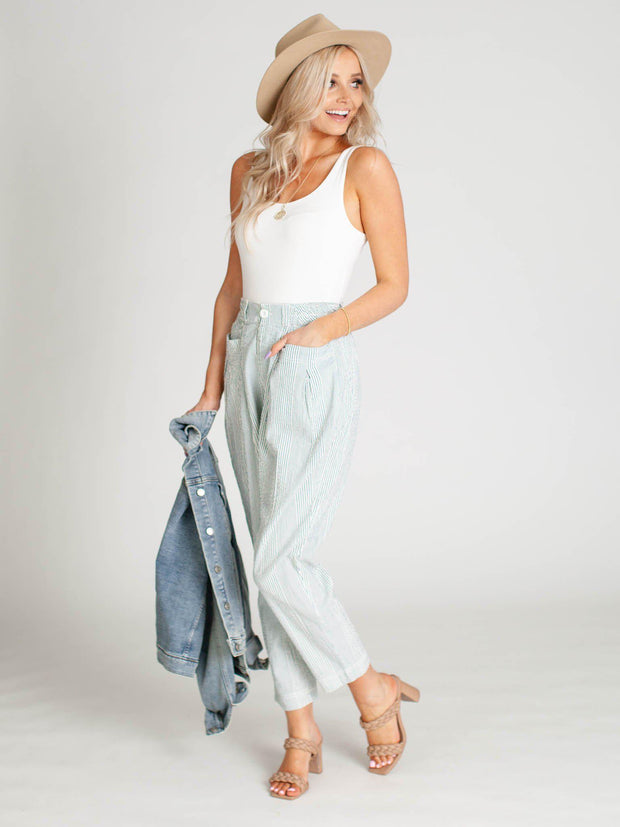 free people pocket front stripe pant