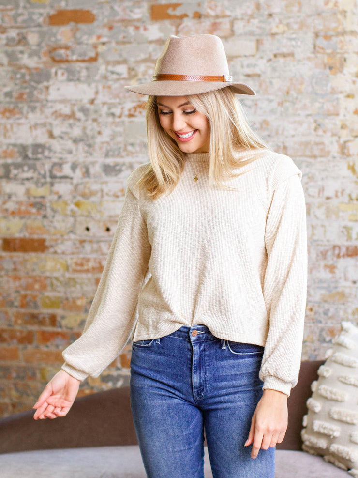 ribbed ruffle shoulder sweater