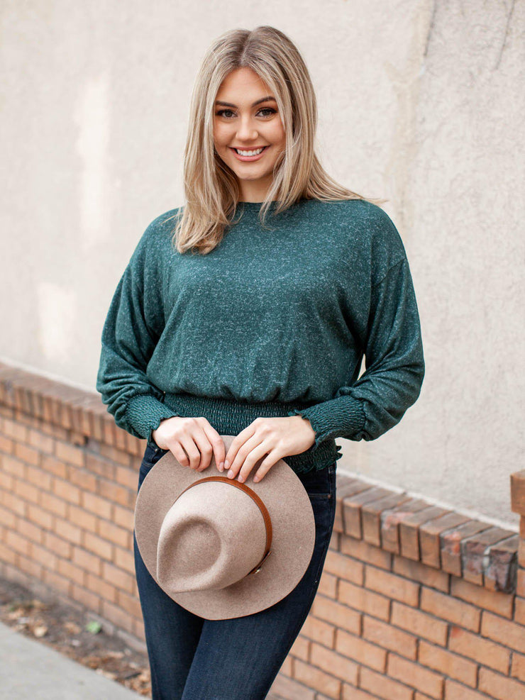 cropped green smocked top
