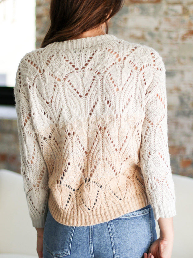 crewneck heart loom open knit sweater