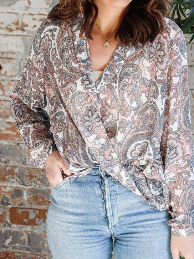 Collared Printed Wrap Front Blouse
