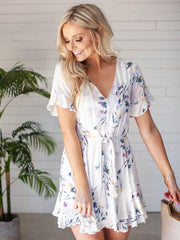 Gentle Fawn Floral Ruffle Accent Tie Front Dress