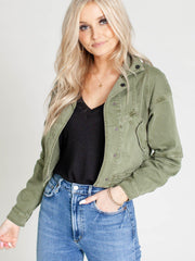 collared green jacket
