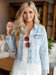 KanCan Pocket Front Distressed Denim Jacket