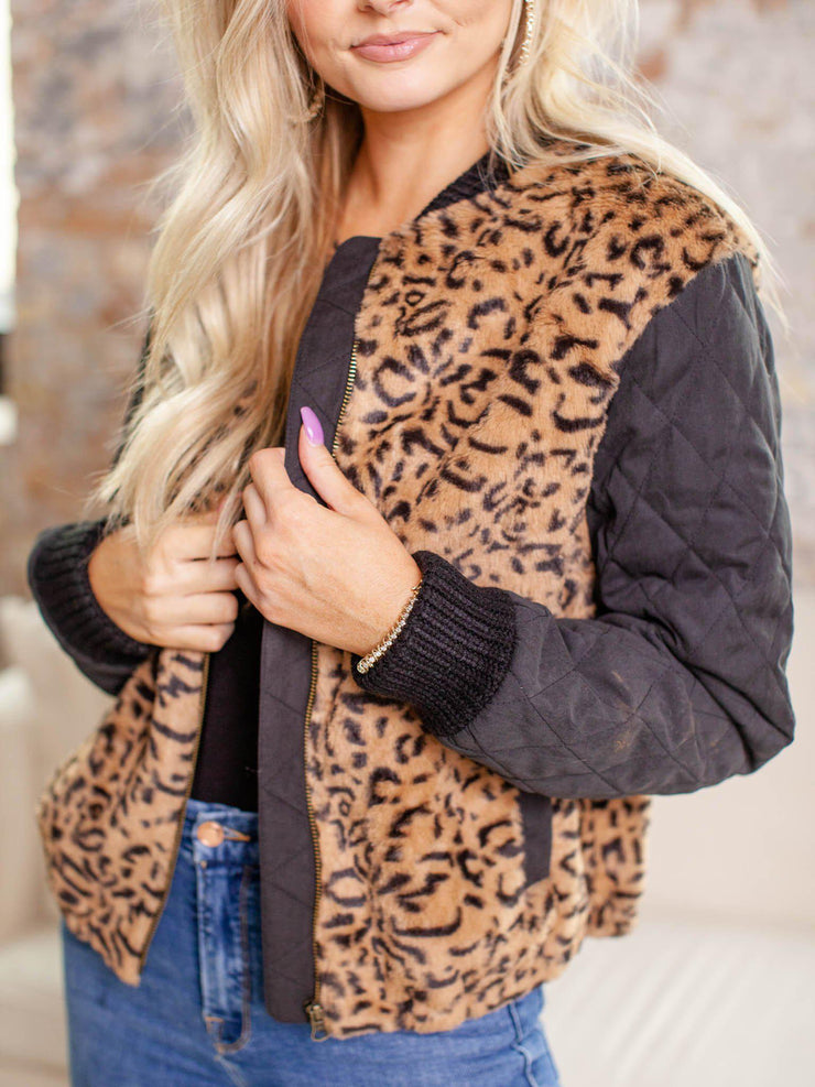 zip front printed faux fur coat