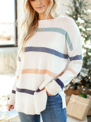 side slit drop shoulder stripe sweater