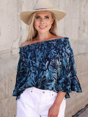 Ruffle Sleeve Off The Shoulder Top