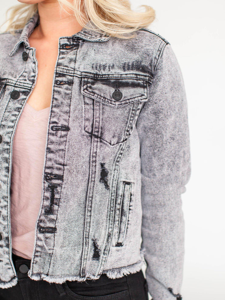 distressed black acid wash jacket