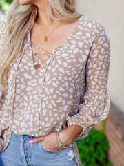 Printed Woven Lace Up Blouse