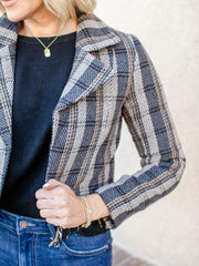 distressed hem blazer