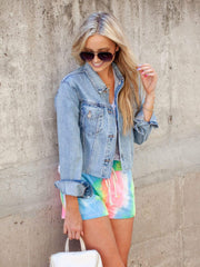 Cropped Pocket Front Denim Jacket