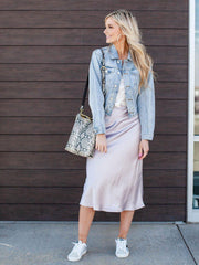 Lucy Paris Satin Midi Skirt