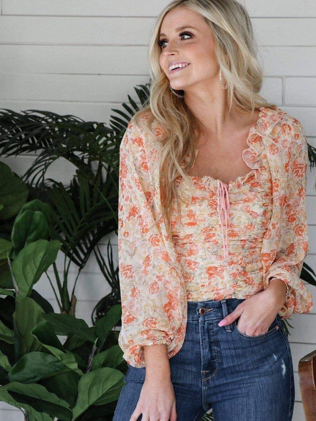 Free People Ruched Bodice Floral Top