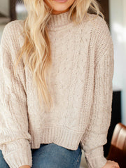 drop sleeve cable knit sweater