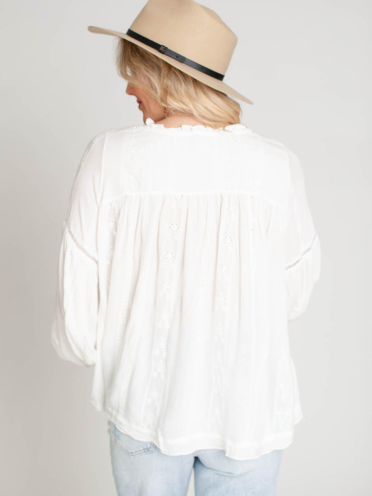 ruffle neck eyelet blouse