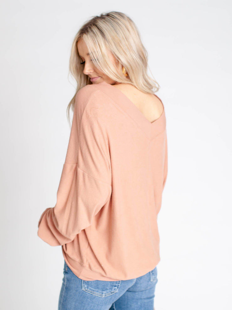 double v-neck ribbed top