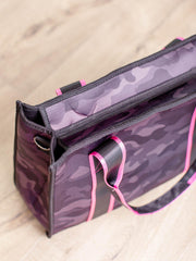 structured camo strap tote