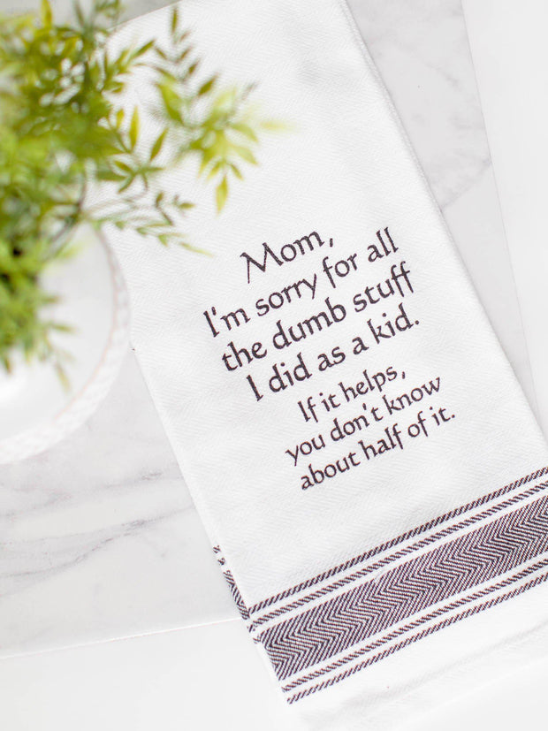 dumb stuff as a kid dish towel