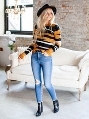 heartloom ribbed hemline contrast sweater