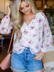 Floral Oversized Sleeve Button Front Top
