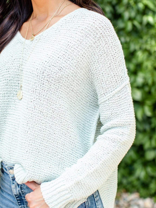 Sage Drop Shoulder Open Knit Sweater