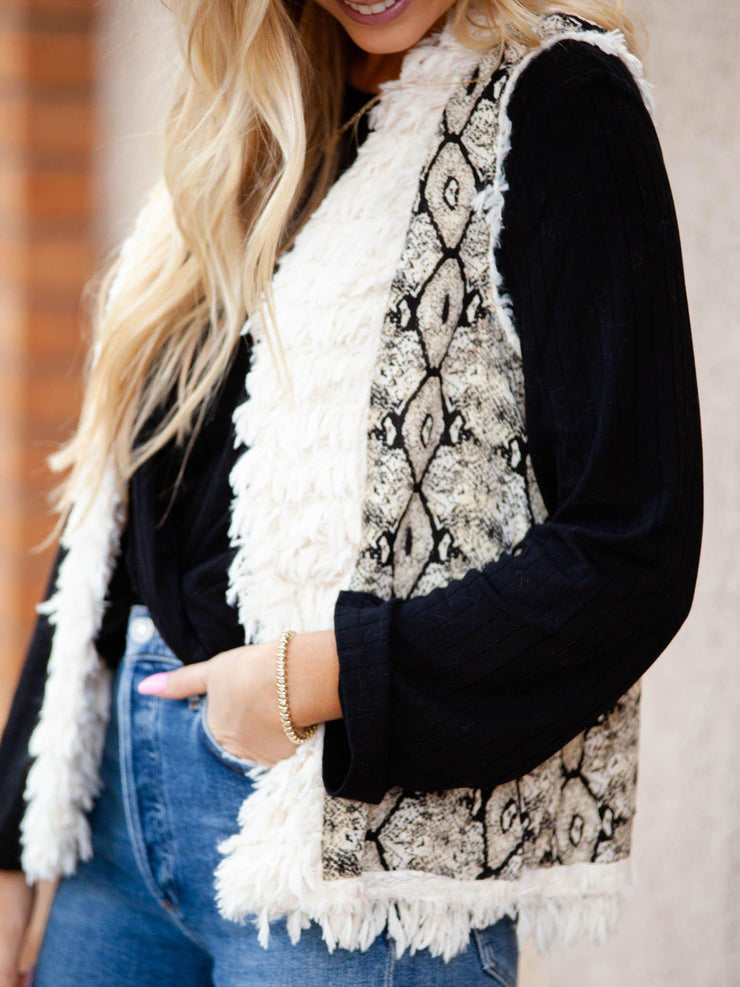 Reversible Printed Faux Fur Vest