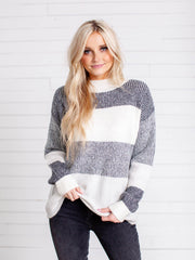 textured color block sweater