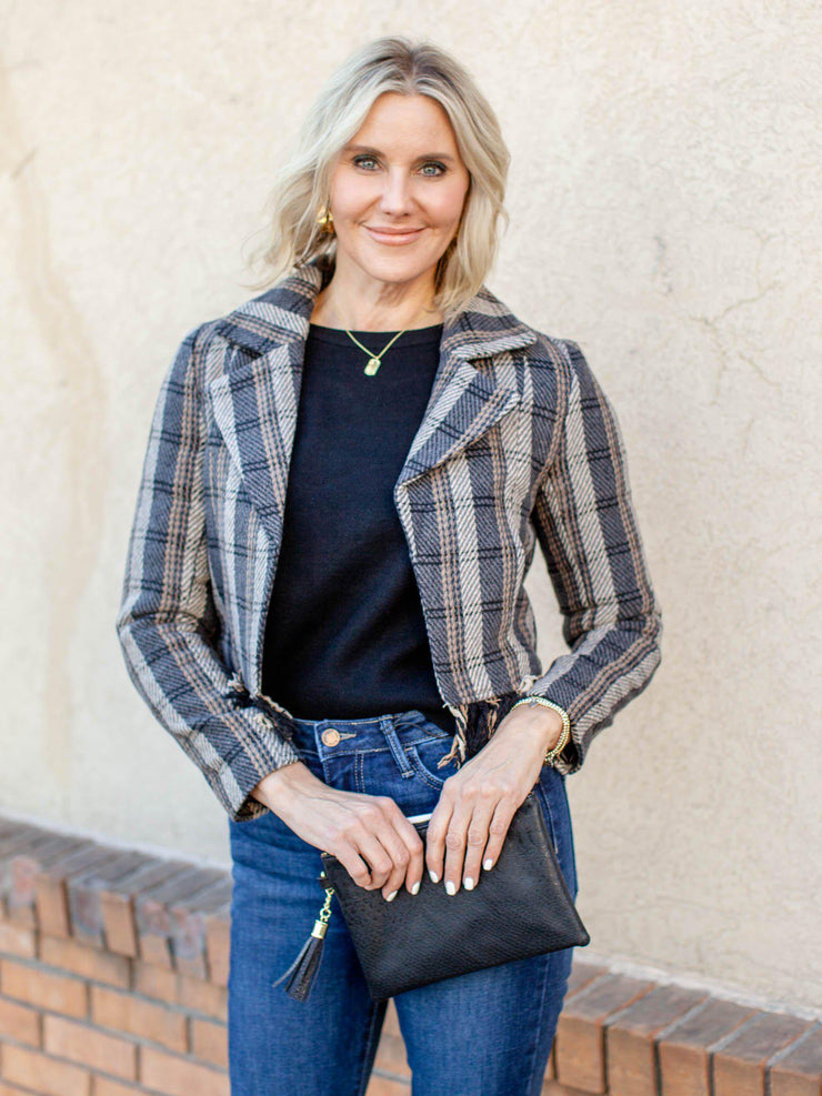 cropped plaid blazer