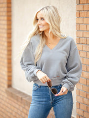 V-Neck AGOLDE Drop Shoulder Balloon Sleeve Sweatshirt