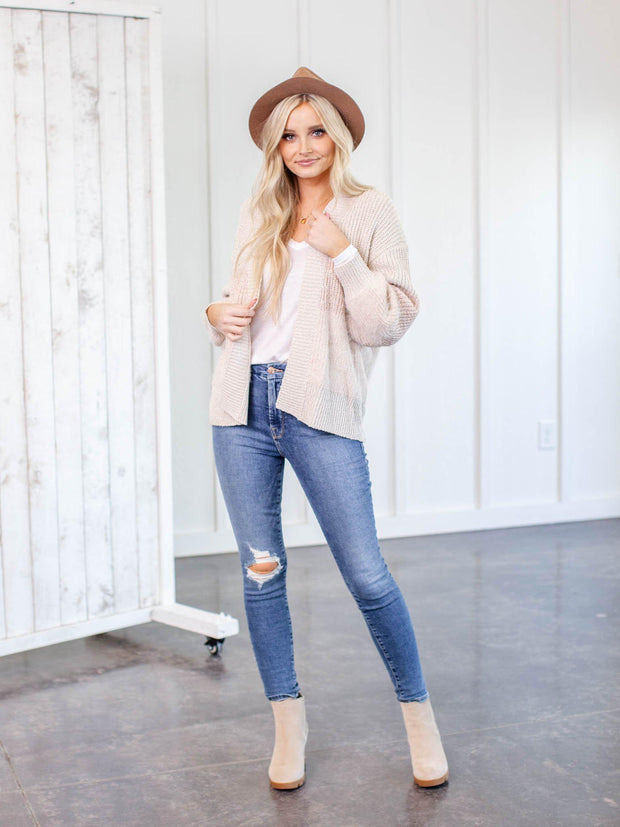 open front colored cardigan
