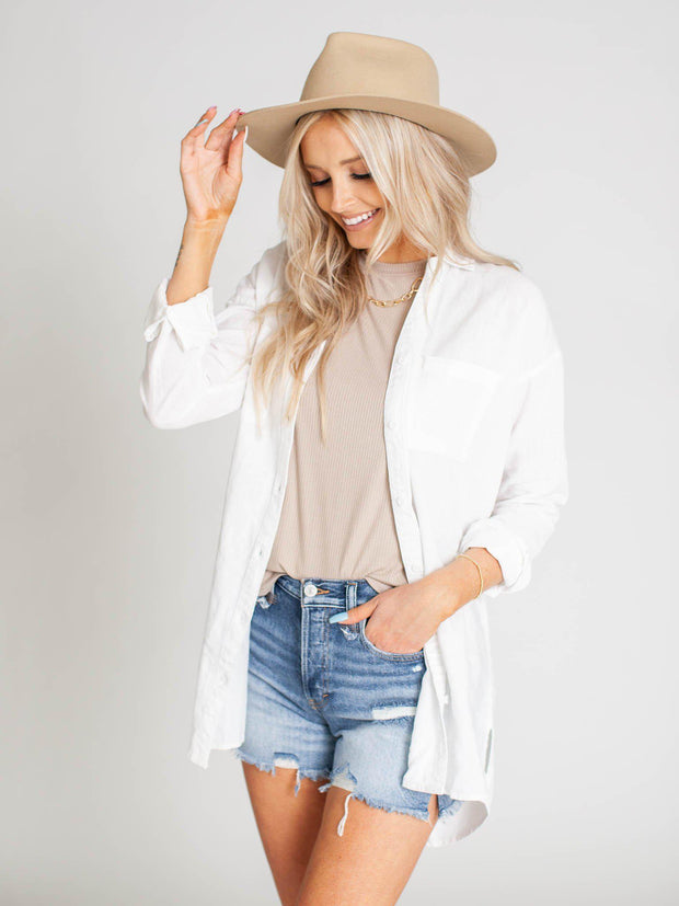 solid white button front top