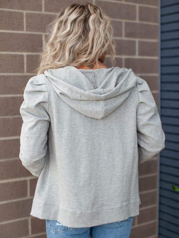 Hooded Pleated Shoulder Zip Up