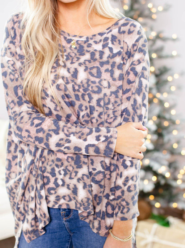 relaxed leopard print top
