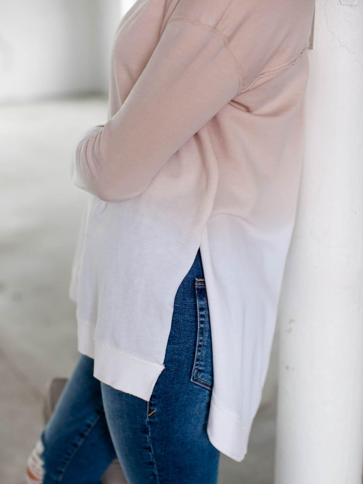 ombre side slit sweater