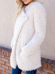 faux fur overlapped collar jacket
