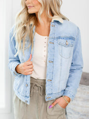 sherpa button front denim jacket