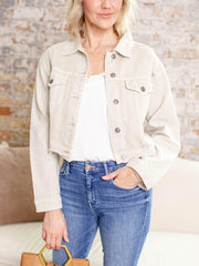 colored white denim jacket