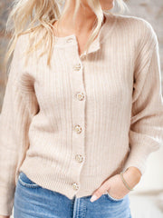 ribbed balloon sleeve cardigan