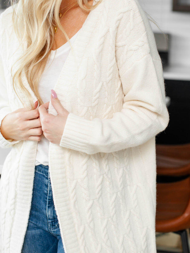 cable knit stripe cardigan