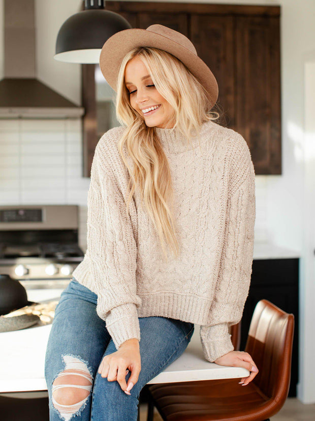 rib trim sweater